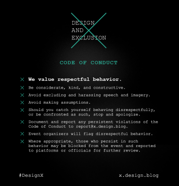 Design and Exclusion: Code of Conduct