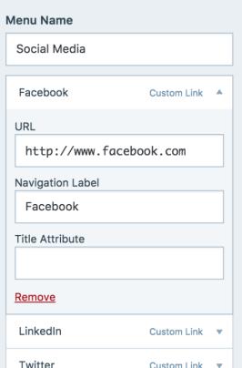 16 customizer menu social remove channel