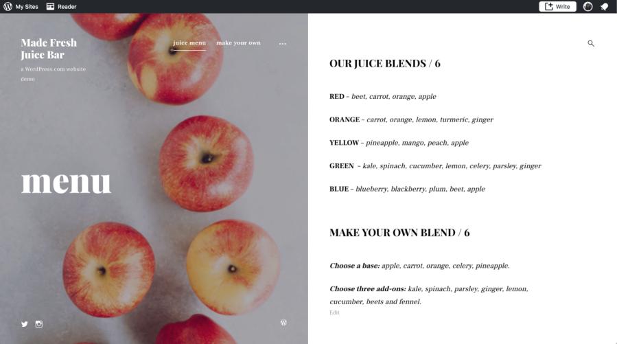 33 menu page